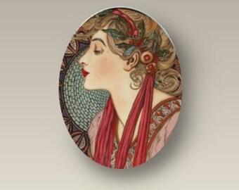 Laurel Alphonse Mucha Porcelain 40x30mm Cabochon Findings supply glass