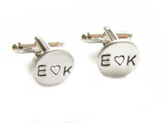 Initial Monogram Hand Stamped Wedding Cufflinks personalized keepsake gift for him guys custom cuff links