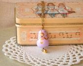 Girl necklace Matryoshka charm in lilac and gold, babushka polymer clay, children kids jewelry