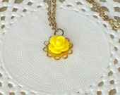"""Girl flower necklace """"La petite rose"""" in yellow and brass, children kids jewelry"""