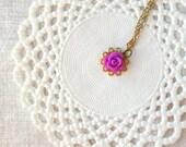 "Kids flower necklace ""La petite rose"" in purple and brass, girl kids jewelry"