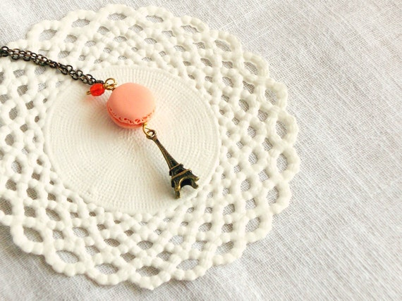 Peach Macaron necklace, 'Oh la la Macarons parisiens', orange polymer clay, girl jewelry