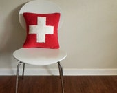first aid pillow in red