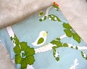 "sweet bird and tree pillow cover 16x16"" green backing with zipper"