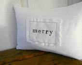 merry christmas holiday home decor white linen pillow cushion letter stamp