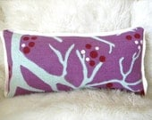 SALE lovely blue branch and holly pillow long