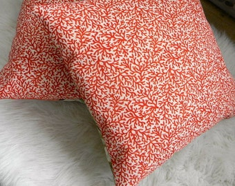 red coral print pillow cover 16x16