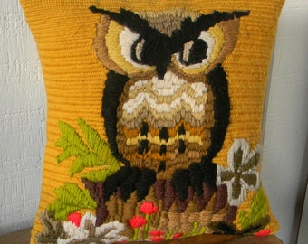 vintage owl embroidery pillow cover 14x14