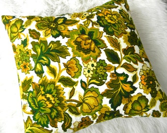 mid century modern barkcloth floral pillow cover 18x18""