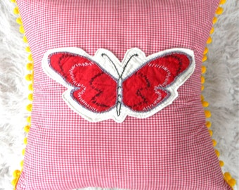 vintage butterfly on red gingham pillow cover