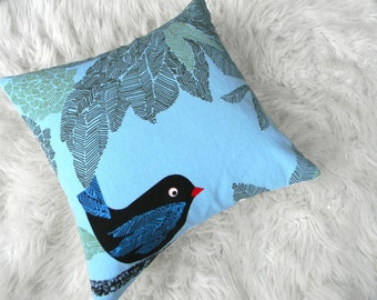 black bird chillin on a pillow cover 16x16
