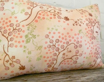 springtime pillow cover in pinks greens and a touch of brown