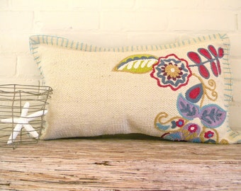 long floral and leaves modern pillow cover
