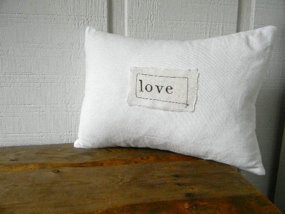 love white linen pillow