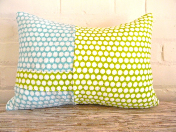 polka dots in greens and blues home decor pillow cover