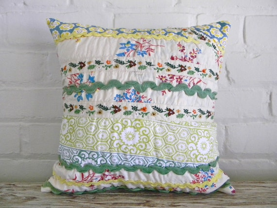 sweet spring patchwork pillow cover 14x14