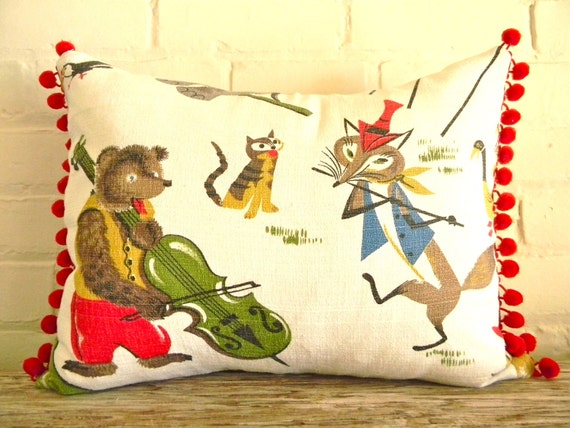circus fun vintage fabric pillow cover with bear playing cello