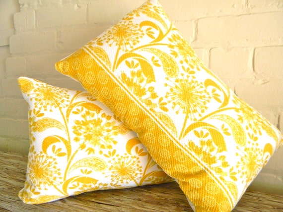 two sunny yellow dandelion pillow covers 12x18