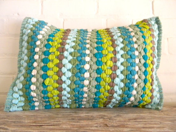 woven greens and blues pillow cover 16x20