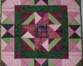 Pink and Green Batik Wall Hanging 24x24 inches