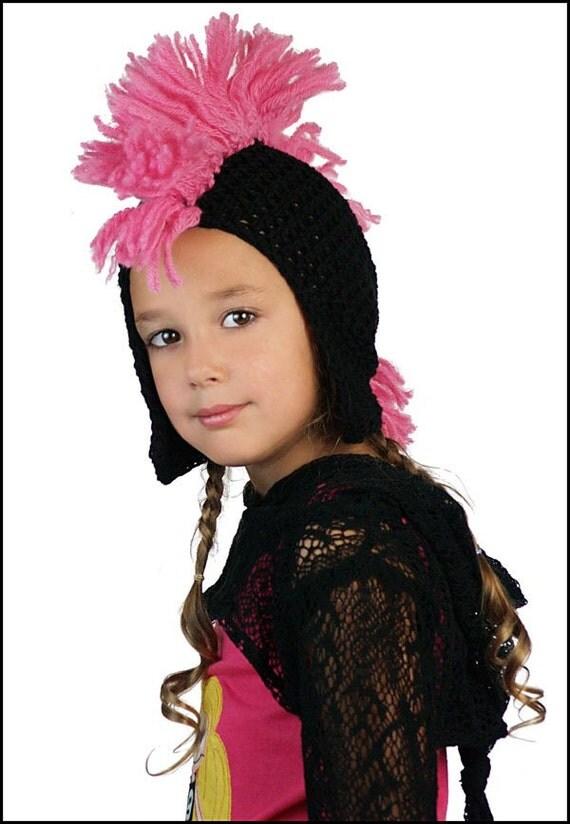 Custom Boutique Crochet Pink Mohawk Hat
