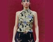 Silk Halter, Silk Top, Grapes, Silk Tank, Rosalba Couture, Elegant, Bohemian, Silk Print Top, Vineyard, Grape Leaves, Printed Silk, Tank