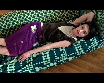 Velvet Skirt, Purple Skirt, A-line Skirt, Button Front Skirt,  Purple Velvet, Bohemian Skirt, OOAK Clothing,  Rosalba Valentino Couture