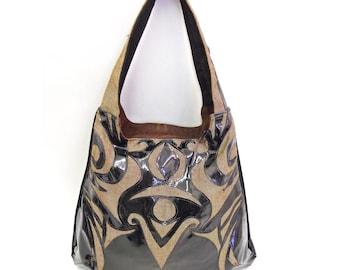 Vinyl Handbag, Tattoo Inspired, Neutrals, Fall Fashion, Statement Bag, OOAK, Rosalba Couture, Structured Bag, Goddess Hecate, Bohemian