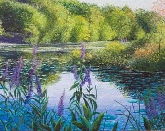 Pond reflections on a shimmering afternoon, 24 x 18 limited edition print