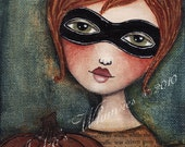 SALE Original 'Me and My Jack-o-Lantern' 5x7 Mixed Media Painting on Canvas Panel
