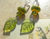Etched LEAF Czech glass and Lampwork EARRINGS - peridot green