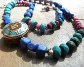 SALE - 20% off - Tibetan Om mani pendant with Lapis Lazuli, Turquoise and Sterling NECKLACE