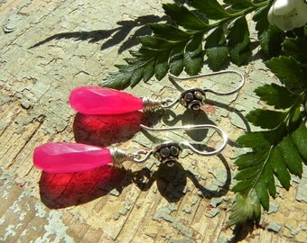 Hot pink PROM earrings - fuschia chalcedony and Bali silver, one of a kind prom jewelry
