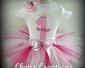 Pretty In Pink 1st Birthday Custom Made Birthday Tutu Set Photo Prop