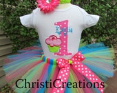 1st Birthday Tutu Set--Cupcake--Baby Girl Party Outfit--Personalized