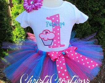 1st Birthday Tutu Outfit - Baby Girl Birthday Tutu - Aqua and Pink Tutu - Cupcake Birthday Party
