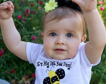 Bumble Bee 1st Birthday Shirt - Bodysuit - Personalized Shirt - Baby Girl Birthday