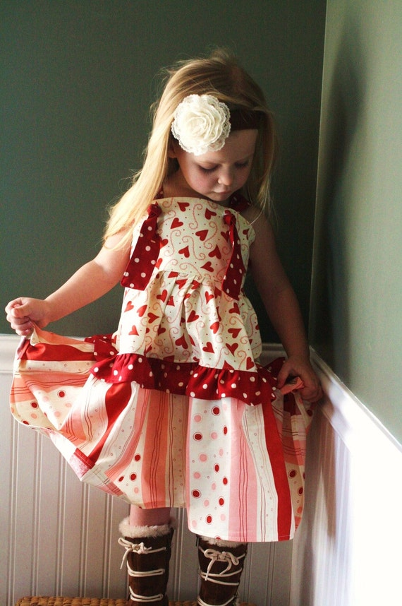 Strawberries and Cream Truffle knot dress.....Momi boutique