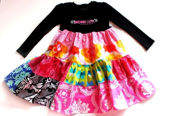 SALE...OOAK..MOMI girl funky swirl dress.. sz 3...Momi boutique