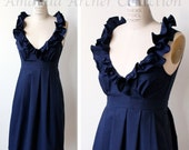 RESERVED for MEGHAN midnight navy cotton bridesmaid dress 10/21