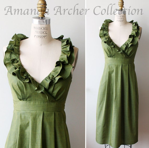 Green Olive Dress, Bridesmaid, Made to Order, Cotton with pockets