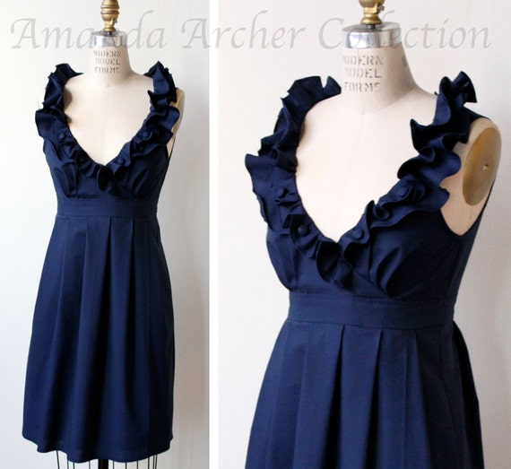RESERVED for REBECCA navy midnight cotton bridesmaid dress 7/21