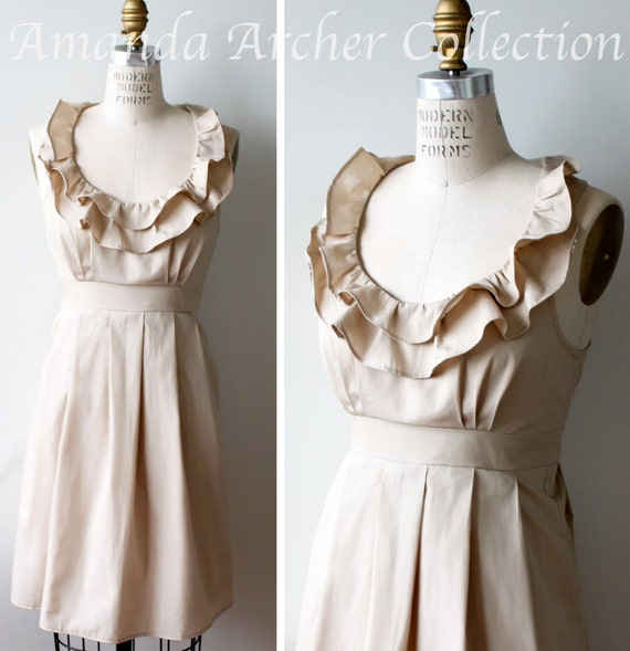 RESERVED for LINDSI Ruffle Collar Bridesmaid Dress, Beige cotton 10/27
