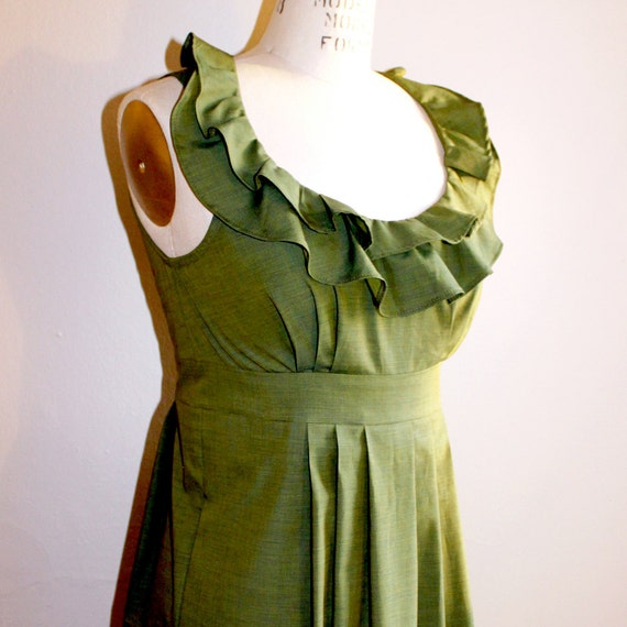 RESERVED for SARAH Ruffle Collar Bridesmaid Dress, Green Olive cotton 10/27