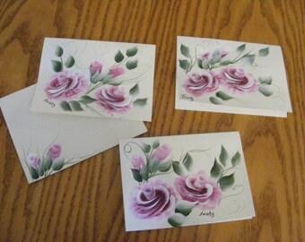 Set of 4 Handpainted notecards