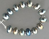 TikiBeads 14 Silvery Metallic looking Lampwork Beads SRA