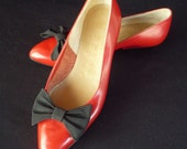 Bruno Magli Shoes / 80s /  Flats / 1980s /  Red / Leather /  Black Ribbon Bow /  Made in Italy / Italian / Size 5.5 / 6 / ON SALE