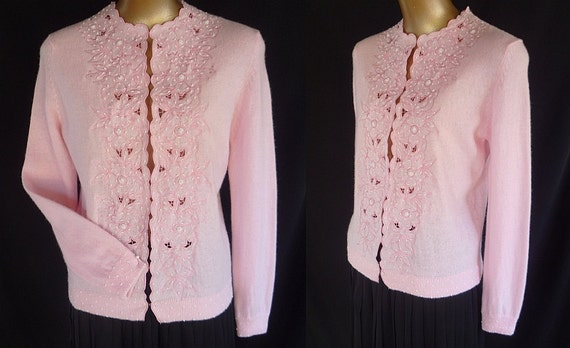 Vintage 50s Hand Beaded Cardigan Sweater 1950s  Embroidered Cutwork Pink Angora Blend Size s to m