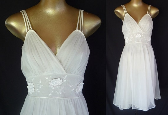 Vintage 50s Nightgown White Chiffon Appliqued Roses and Embroidery by Gotham - Romantic - Bridal - Size 32 - XXS 2XS to XS - sale