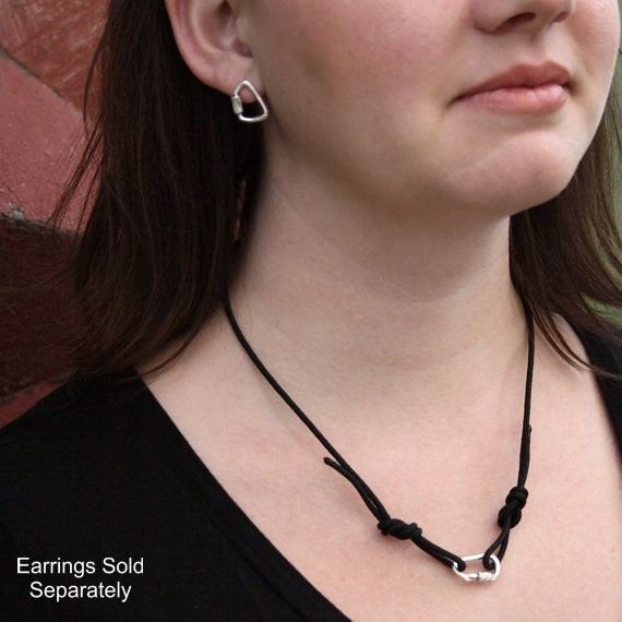 Knotted Cord Necklace with Sterling Silver Carabiner 10 Colors!
